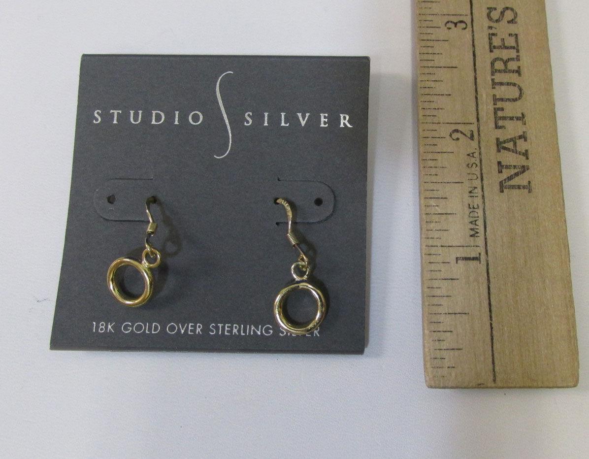 Studio Silver Drop Dangle Earrings 18K Gold Over Sterling Silver Ret. $90.00 NOS