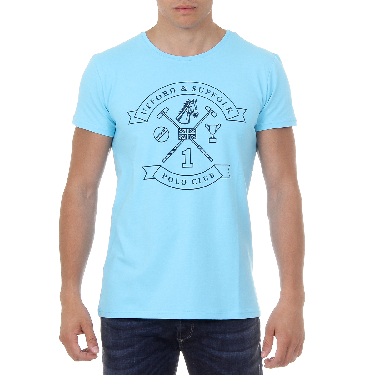Primary image for Ufford & Suffolk Polo Club Mens T-Shirt Short Sleeves Round Neck US027 BLUE