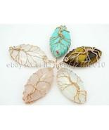 Natural Gemstone Reiki Chakra Beads Tree of Life Marquise Shape Copper Pendant - $3.46 - $26.76