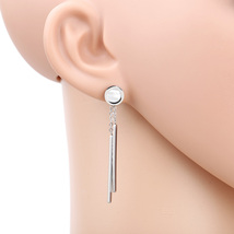 UE-Silver Tone Designer Earrings With Dangling Bars & Faux Mother of Pearl Inlay - $16.99