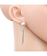 UE-Silver Tone Designer Earrings With Dangling Bars & Faux Mother of Pea... - $15.99