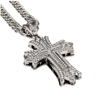 Mens Hip Hop 18k Gold Plated Silver Textured Pendant Necklace Cross Cha - $40.96