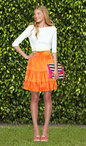 Lilly Pulitzer Jimmie Breakers Orange Charmeuse Silk Tiered Skirt - $67.50