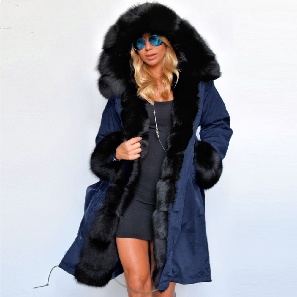 Women's Fur, Hooded, Long, Dark Blue, Parka Coat- Coats & Jackets