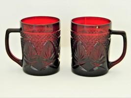 Red/Royal Ruby - Crystal d'Arques Durand – 2 Coffee Mugs - Vintage  - $17.50