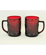 Red/Royal Ruby - Crystal d'Arques Durand – 2 Coffee Mugs - Vintage  - $14.88