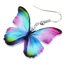 Acrylic Fashion Floral Butterfly Earrings Big Dangle Drop Novelty Insect... - $6.73