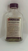 Vintage Dandricide Hair Care Empty Bottle Display Temperglas Bottle - $12.86