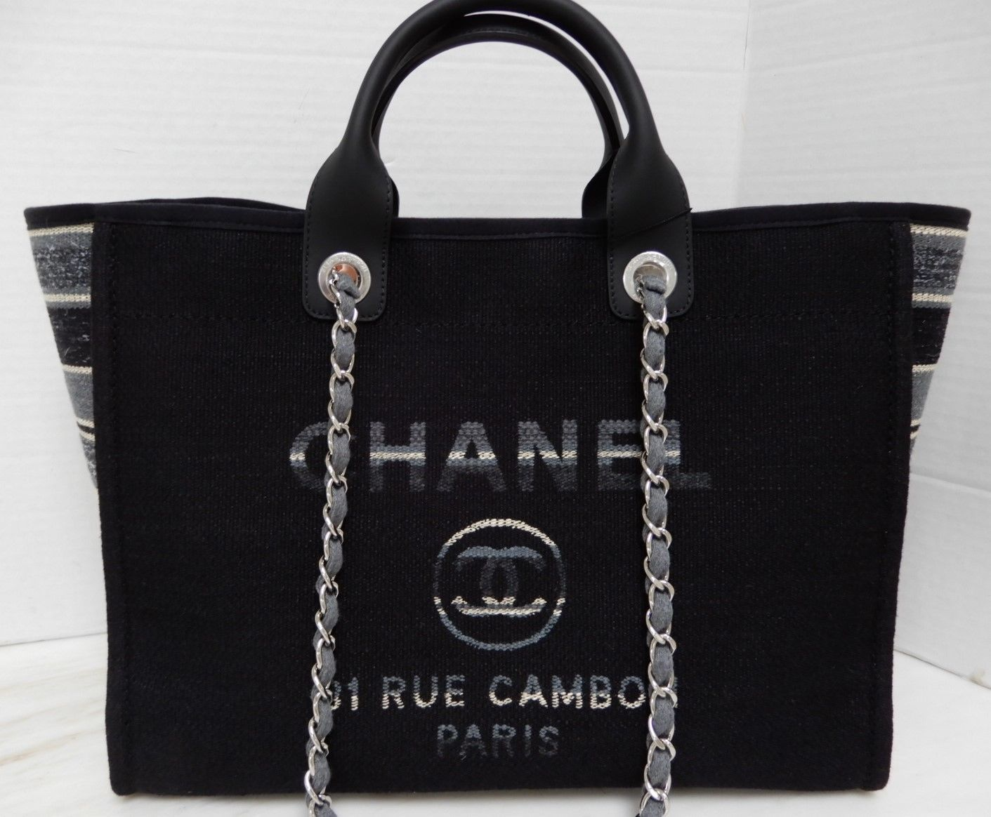 663bca090300 Chanel Black Deauville Bag Canvas Grand and 50 similar items. S l1600