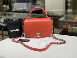 100% Auth NEW Chanel RED Quilted Calfskin Top Handle Flap Bag RECEIPT  image 1