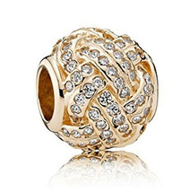 Pandora Sparkling Love Knot 14K Gold Charm 750991CZ Cubic Zirconia Europ... - $441.49