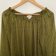 Michael Kors S Small Graphic Print Long Sleeve Peasant Blouse Green - $18.19