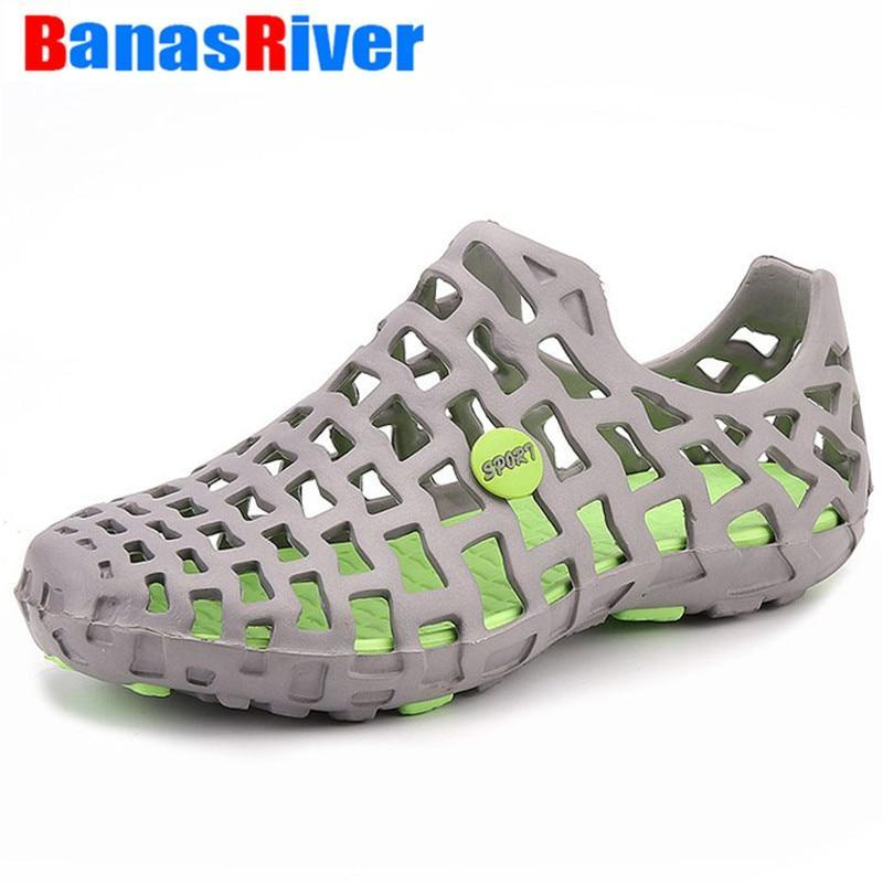UEXIA 2020 Hole Male Shoes Croc Green Garden Casual Clogs For Men Sandals Summer - $19.95