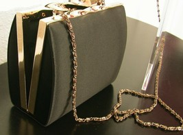 Nordstroms Black Satin Special Occasion Purse with Gold Chain - $24.99