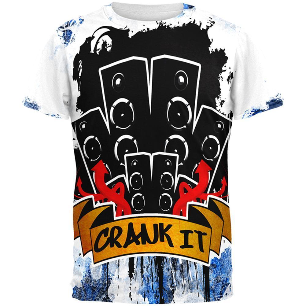 DJ Crank it to Eleven 11 Super Bass Speakers All Over Mens T Shirt