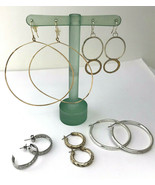 Lot of 5 Fashion Hoop Earrings for Pierced Ears, Gold-Tone and Silver-Tone - $9.49