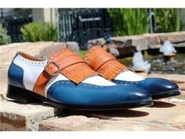 Handmade Men's Blue & White Wing Tip Fringe Monk Strap Leather Soes image 1