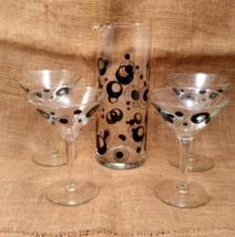 Mid Century Martini Pitcher and Glass Set/Mod Black Circle Martini Set - $34.99