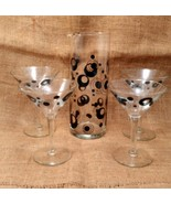 Mid Century Martini Pitcher and Glass Set/Mod Black Circle Martini Set - $34.99