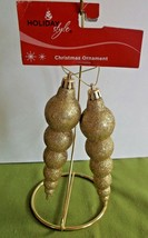 2 Gold Glittered Unbreakable Metallic Christmas Tree Icicle Ornaments Mi... - $5.93