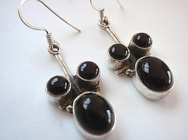 New Black Onyx 3-Gem Dangle 925 Silver Earrings India - $14.51