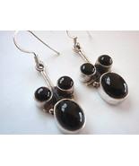 New Black Onyx 3-Gem Dangle 925 Silver Earrings India - $14.51