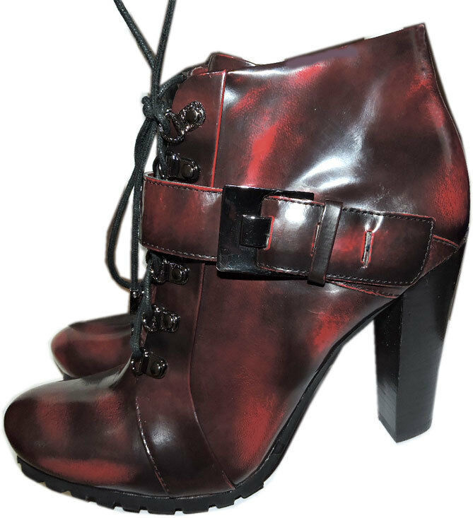 Vince Camuto Ankle Lace Up Combat Buckle Boots Booties 8 / 38