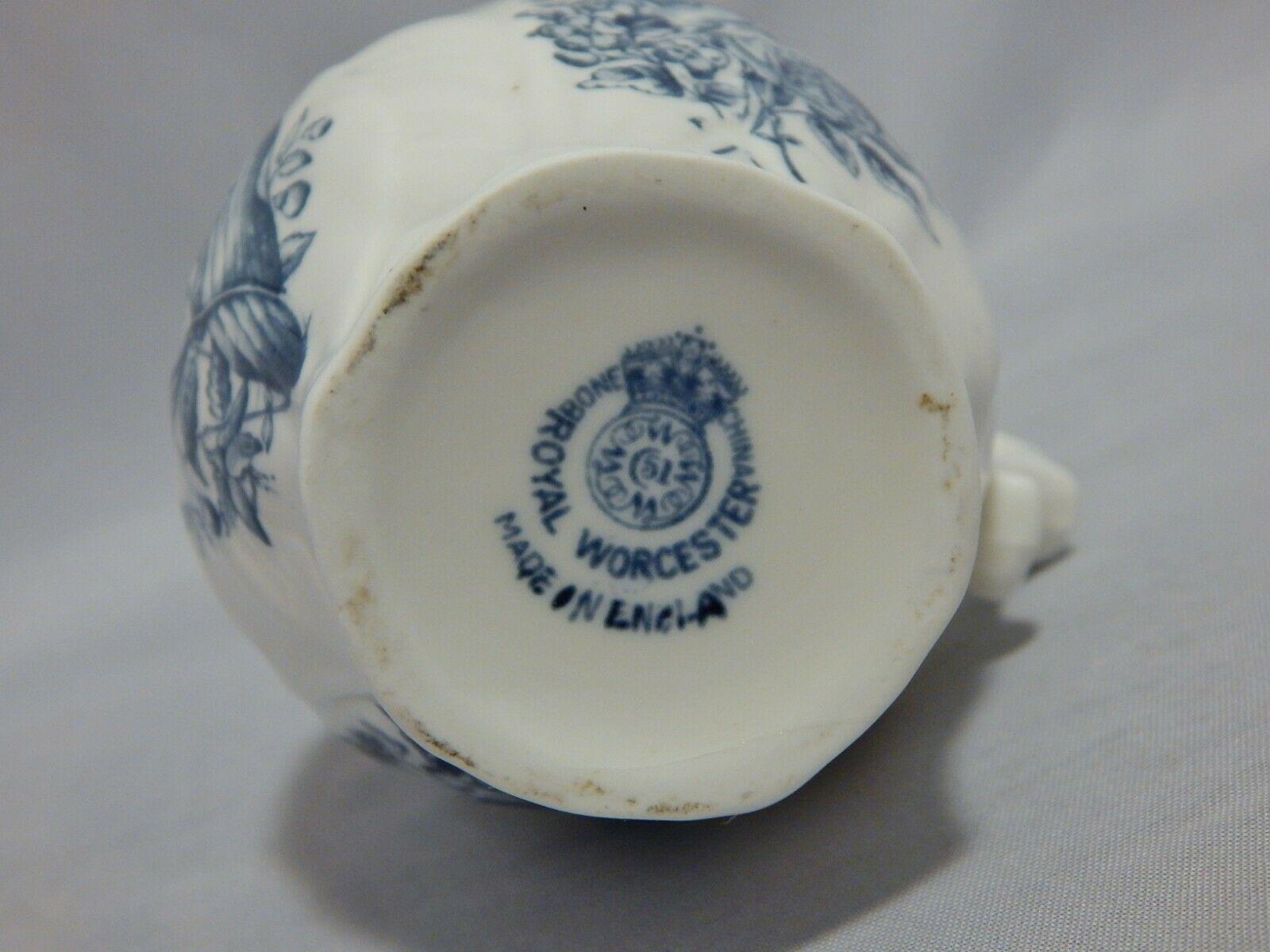 Royal Worcester Older Mark Blue Floral Spray Face Jug