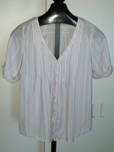 American Eagle Outfitters Ladies 3/4-SLEEVE Cotton Button TOP-S-GENTLY WORN-COOL - $5.99