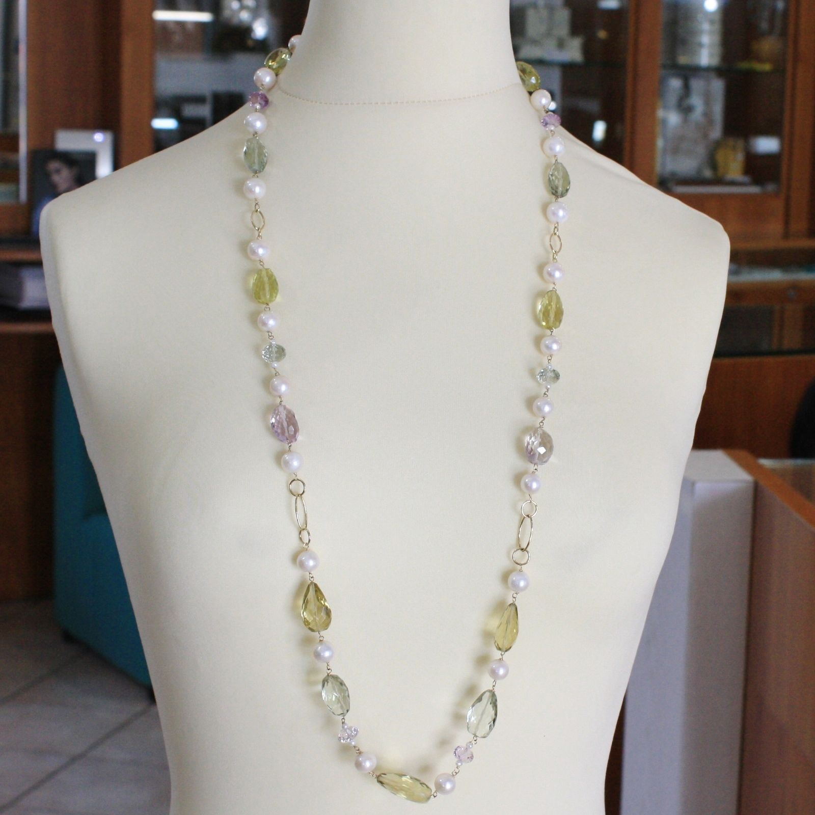 18K YELLOW GOLD LONG NECKLACE BIG LEMON QUARTZ AMETHYST, PRASIOLITE PEARL, 90 CM