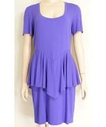 Nicole Miller Artelier dress SZ L purple knee length peplum at waist to ... - $39.59