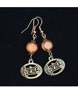 Music note earrings, Crystal earrings, Peach beads earrings, bronze (E981) - $13.99