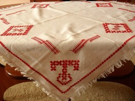 Vintage hand embroidered tablecloth, white, red 78 x 68 cm - $13.50