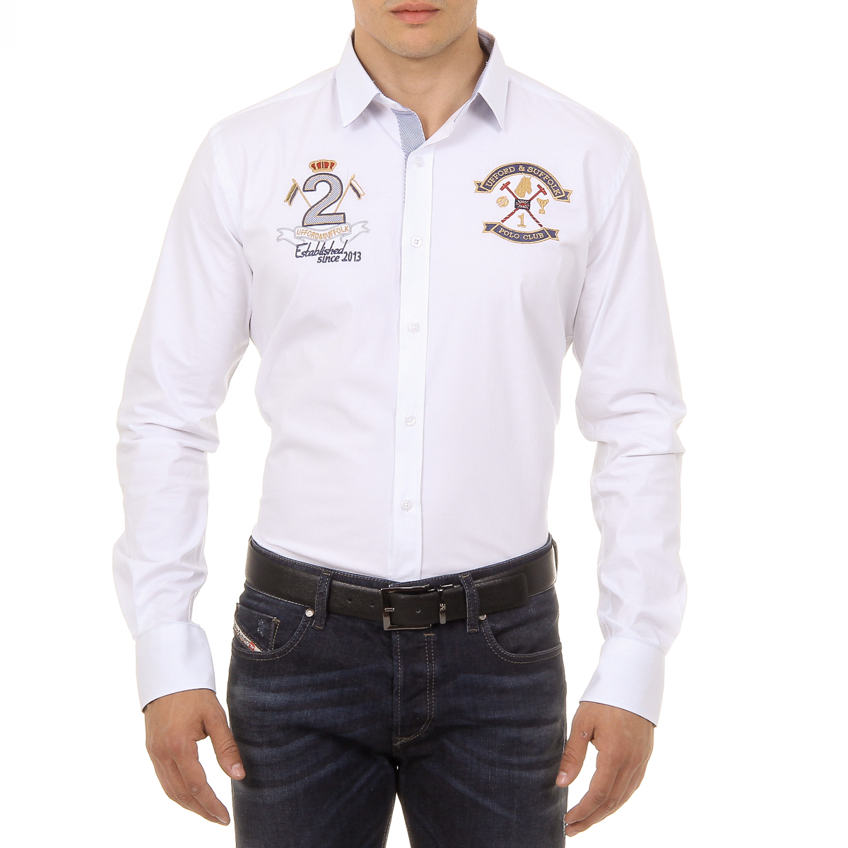 Primary image for Ufford & Suffolk Polo Club Mens Shirt Long Sleeves US010 WHITE