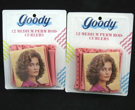 Vintage Goody 24 Perm Rod Curlers Pink Two Sets 12 Count Home Permanent Curler - $16.78