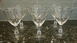 "Antique Vintage Etched Cut Crystal Wine Glasses (6) 6"" Tall - Fostoria? - $60.00"