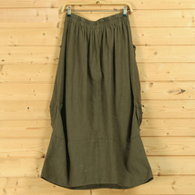 Women Linen Cotton Boho Skirts Casual Linen Skirt, Army Green Black,  One Size image 9
