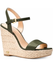 MICHAEL Michael Kors Jill Wedge Leather/Jute Sandals Olive Size 8 - $84.99