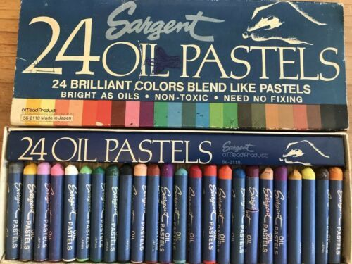 Sargent Oil Pastels 24 Count Brilliant Colors Non-Toxic Made in Japan Vintage
