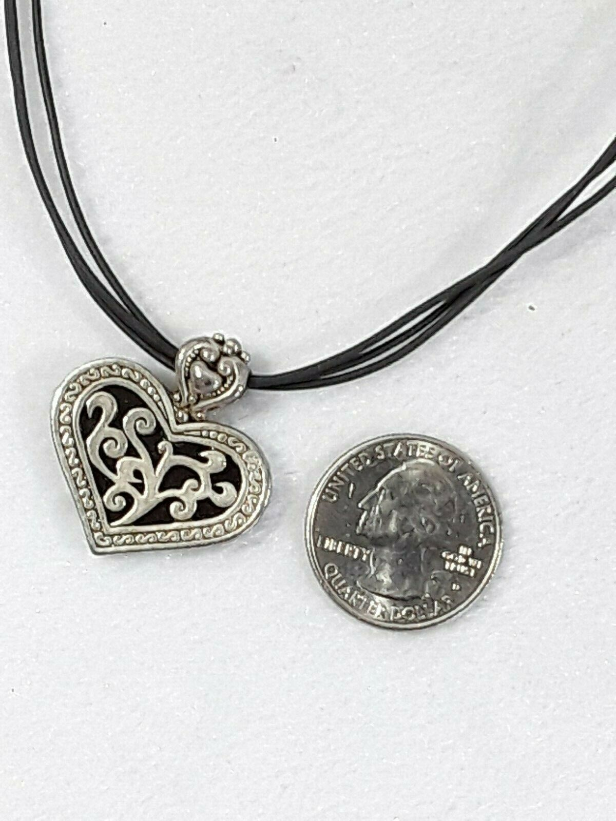 """Cookie Lee 2-in-1 Reversible Golden Heart Corded 18"""" Pendant Necklace Signed EUC image 6"""