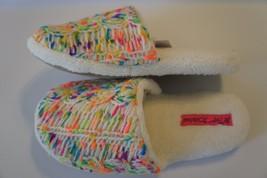 Betsey Johnson Slippers Sz S 5/6 Ivory Multi Plush Knit Yarn Detail BS4203B - £15.35 GBP