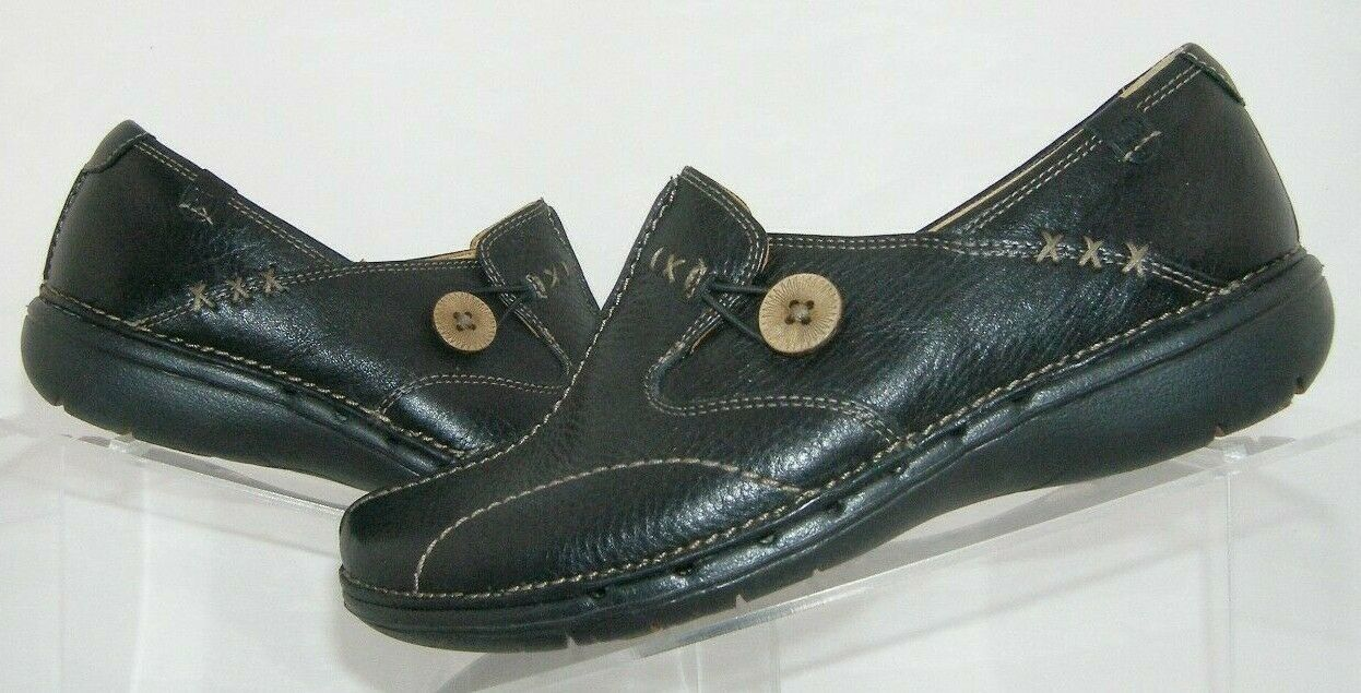 Clarks Unstructured 'Un.loop' black leather round toe slip on loafer flats 6.5M