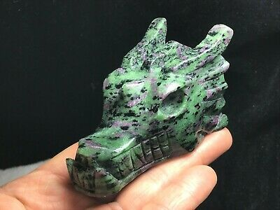 Primary image for Ruby Zoisite Natural Quartz Crystal Carved Dragon Crystal Skull H111559