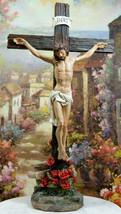 INRI Jesus Christ On The Cross With Rose of Sharon Base Crucifix Desktop... - $31.99