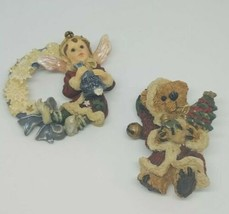 Country Christmas Pins Vintage Brooches Lot Of 2 Bear Angel Holiday Tree... - $9.89