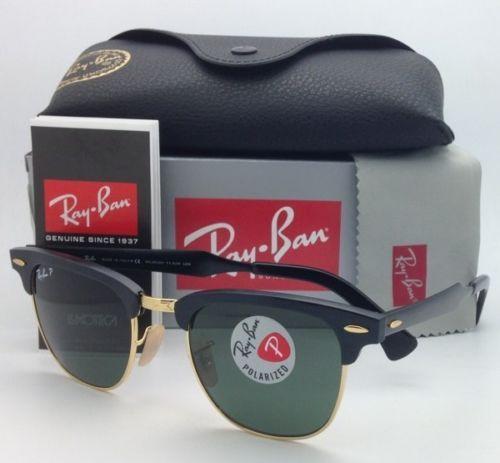 ae91ebf325e63 Polarized Ray-Ban Sunglasses CLUBMASTER RB 3507 136 N5 49-21 Black-Gold w   Green