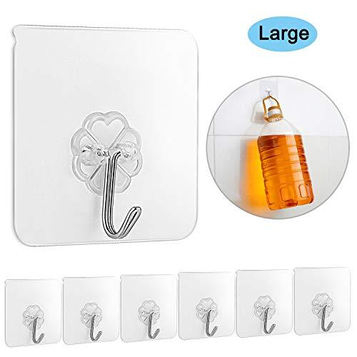 Self Adhesive Hooks 12 Pcs Heavy Duty 22 lbMax Waterproof Removable,Wall Hooks,H