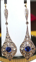 Victorian 2.45ct Rose Cut Diamond Blue Sapphire Eye Catching Wedding Ear... - $373.07