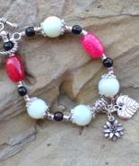 Gemstone Beaded Bracelet, Agate, Jade Silver Bracelet, Valentine Gift Id... - $19.99