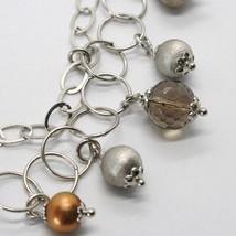 Bracelet en Argent 925 Rhodié Avec Quartz Affumicarto Et Perles De D'Eau Douce image 2